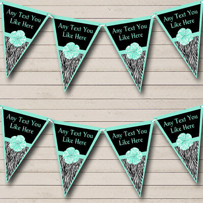 Zebra Print Turquoise Teal Bow Personalized Birthday Party Bunting Flag Banner