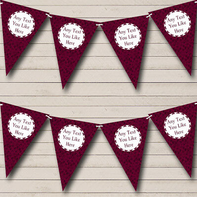 Dusky Dark Pink Rose Personalized Carnival Fete Street Party Bunting Flag Banner