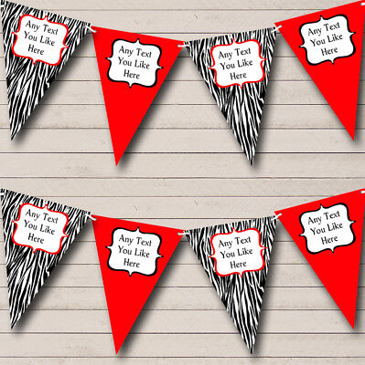 Zebra Print & Red Personalized Birthday Party Bunting Flag Banner