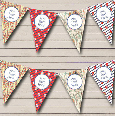 Red Map Vintage Nautical Sailing Beach Seaside Themed Bunting Flag Banner
