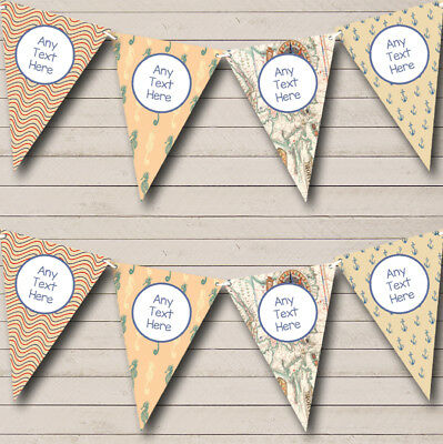 Waves Map Vintage Nautical Sailing Beach Seaside Themed Bunting Flag Banner