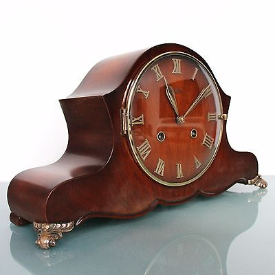 JUBA SCHATZ CLOCK Mantel TOP HIGH GLOSS Vintage TRIPLE MARKED German 4 Bar Chime