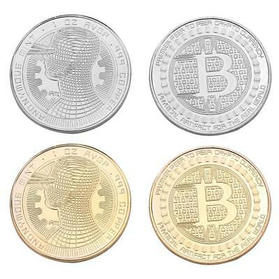 1pc BTC Gold Plated Bitcoin Coin Collectible Coin Art Collection Physical Gift