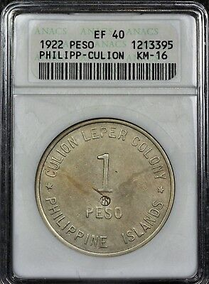 ANACS Old 1st Gen XF40 Philippines Leper Colony 1 Peso Rare Coin Older Holder XF