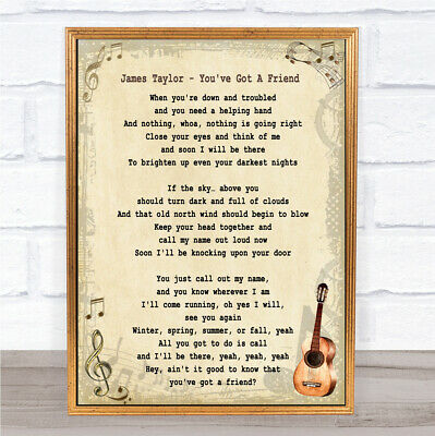 You/'ve Got A Friend In Me Black Heart Song Lyric Quote Print