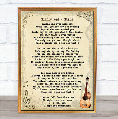 Simply Red song lyrics music Word Art Print Poster Stars  Mick Hucknall Wedding