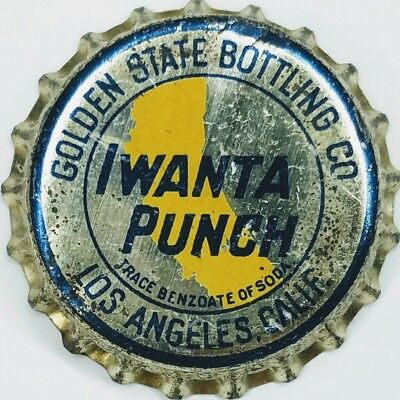 GOLDEN STATE IWANTA PUNCH LOS ANGELES, CA Soda Bottle Cap Crown USED SOLID CORK