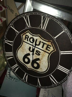 Large Route 66 wall clock PERFECT CONDITION (battery operated)