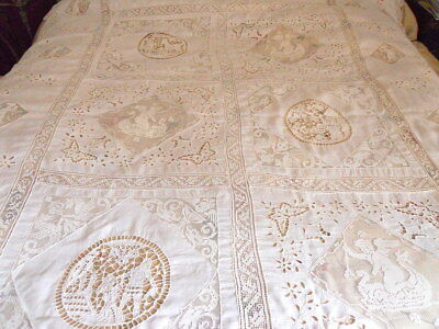 "Vintage Needle Filet Linen Lace Figural  Tablecloth Seahorses Angel  69"" x  95"""