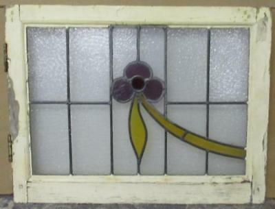 "MID SIZED OLD ENGLISH LEADED STAINED GLASS WINDOW Floral Swoop 24"" x 18.5"""