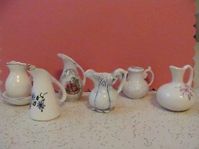 Vintage Collection of Miniature **WATER PITCHERS** lot of 6