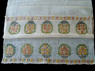 #14 Antique Turkish Ottoman Hand Embroidered Towel METALLIC SILVER Embroidery
