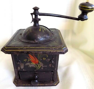 ANTIQUE Country PRIMITIVE  Hand Painted Tole COFFEE GRINDER