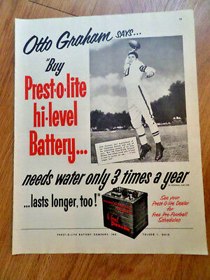 1952 Prest-o-lite Battery Ad  Football Star Otto Graham of the Cleveland Browns