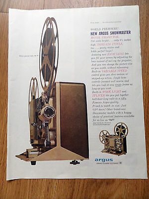 1960 Argus Showmaster Movie Projector 750 Watts Bright Ad