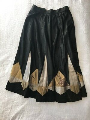 Vintage Long Black Full Skirt Leather / Suede Detail (Made in Germany) Size 12