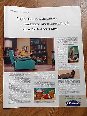1960 B F Goodrich Tire Ad The Luxurious TV Reclining Chair Father's Day Gifts