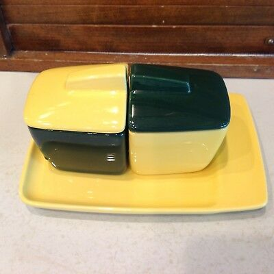 Oregon Ducks Special Gift! Yellow and Green FRANCISCAN POTTERY Jam and Jelly set