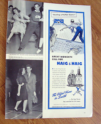 1941 Haig & Haig Whiskey Ad  Bowling a Perfect Score