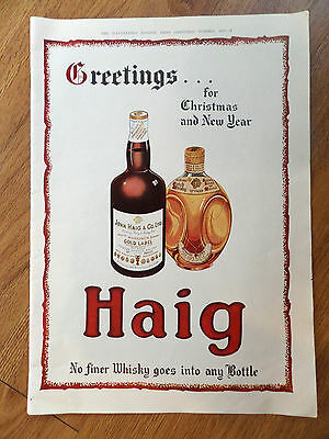 1947 John Haig Whiskey Ad  Greetings for Christmas & New Year