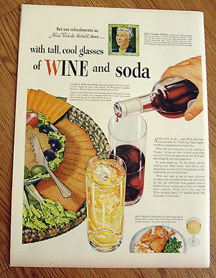 1946 Wine & Soda Tall Cool Glasses Ad Novelist Alice Tisdale Hobart