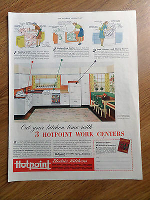 1945 Hotpoint Electric Kitchens Ad 3 Hotpoint Work Centers Cut your Kitchen Time