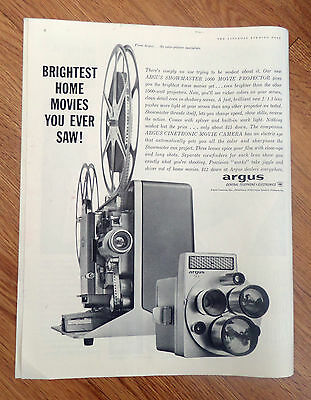 1960 Argus Showmaster 1000 Movie Projector & M3 Cinetronic Movie Camera Ad