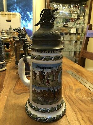 "Antique commemorative cannon-topped German Beer Stein 10"" colorful and heavy!"