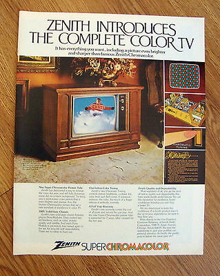 1972 Zenith TV Television Ad Introduces the Complete Color TV