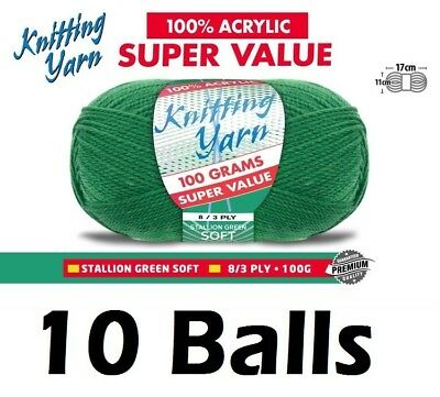 10 x Knitting Yarn Wool Acrylic 8 Ply 100g Stallion Green Soft 100% Brand New