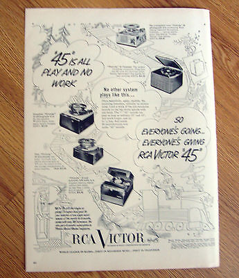 1950 RCA Victor 45 Phonographs Ad  Shows 5 Models Christmas Theme