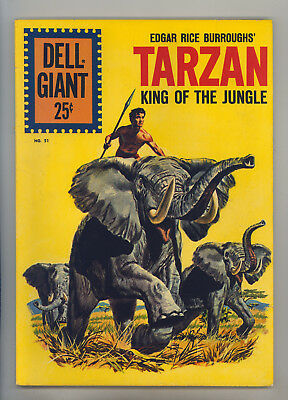 Dell Giant #51 FN+ Gollub Painted Cover Marsh Tarzan King of the Jungle Jane Boy