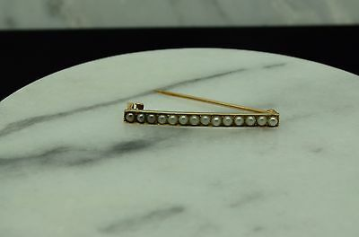 10K Yellow Gold Bar Of White Seed Pearls Pin Brooch
