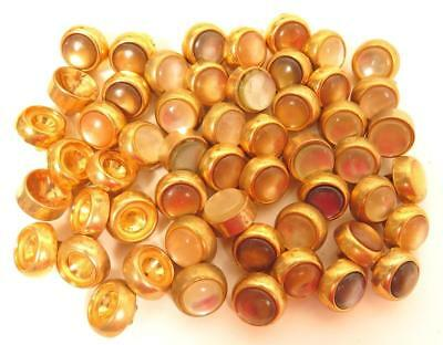 Large Lot of 42+ Small 10mm Faux Pearl Cab Golden Gold Tone Vintage Buttons*A535