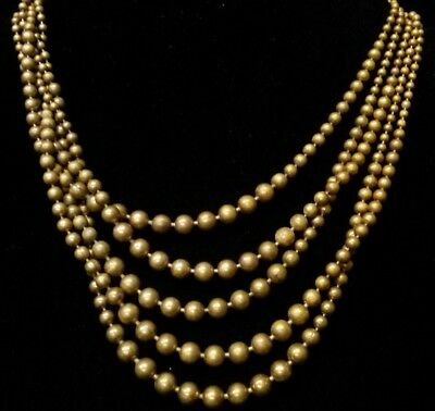 Antique Vintage Art Deco 5 Strand link Metal Ball chain Brass gold tone Necklace