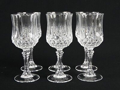 Set of 6 French Crystal Darques  Cristal D'Arques Longchamp Pattern Wine Glasses