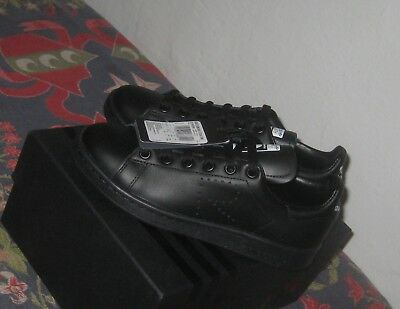 pick up ce9a5 901d3 Adidas x Raf Simons Stan Smith Black Leather Sneakers Size 4 New