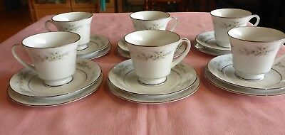 NORITAKE MELISSA 3080 CUP SAUCER PLATE TRIO x 6