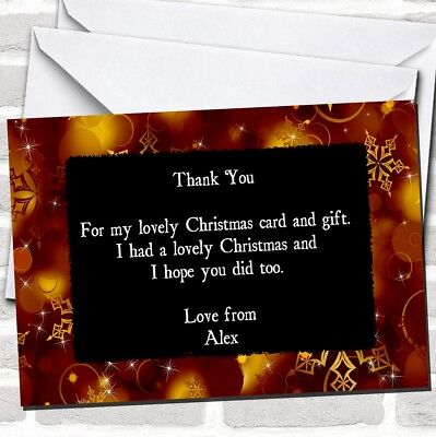 Golden Snowflakes Christmas Party Thank You Cards