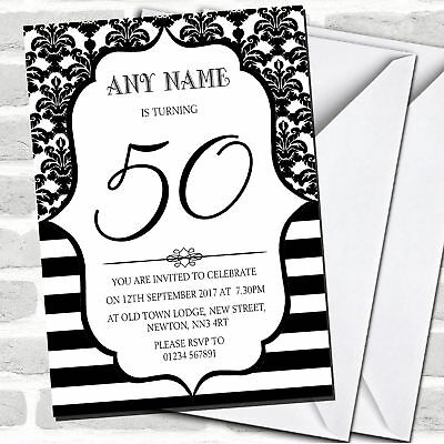 Home, Furniture & DIY Black & White Bronze Chevrons 70th Personalised Birthday Party Invitations