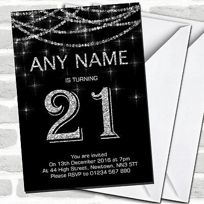6 Black Silver 21st Birthday Party 7ft String Decorations
