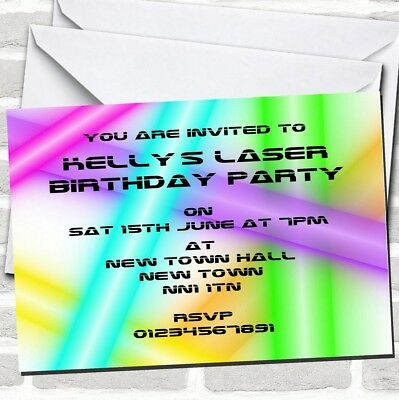 Childrens Boys Birthday Party Invitations Laser Activity Party x 12 envs H1565