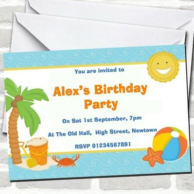 Beach Holiday Swimming Pool Theme Birthday Party Invitations
