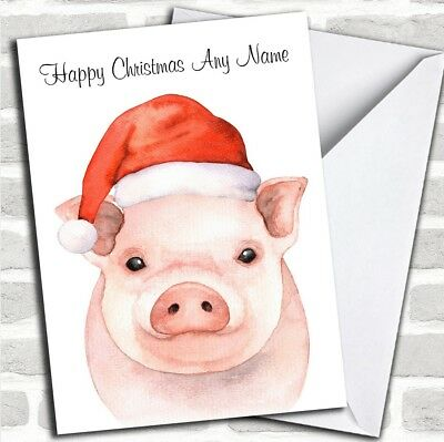 Cute Watercolour Pig Santa Hat Personalized Childrens Christmas Card