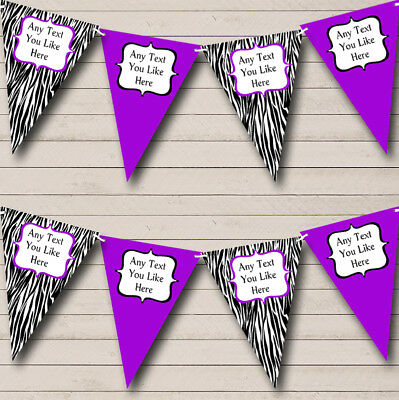 Zebra Print & Purple Personalized Birthday Party Bunting Flag Banner