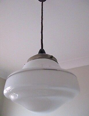 Art Deco retro antique vintage large stepped milk glass shade pendant light