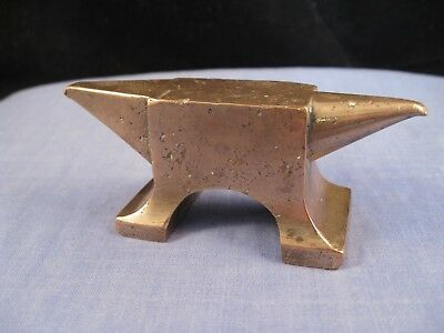 Antique Solid Brass Figural Jewellers Anvil Blacksmith Desktop Paperweight Tool