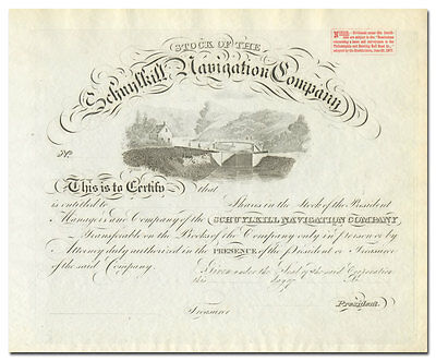 Schuylkill Navigation Company Stock Certificate (1870's)