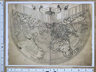 """Antique Old Vintage MAP 1500's: The World (America) 1507: Ruysch 12 X 9"""" Reprint"""