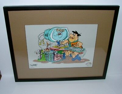 "Matted And Framed Limited Edition Sericel The Flintstones In ""microstone"""